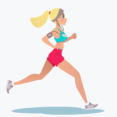 Fitness running girl with mp3 player. A cute running girl in cartoon style. Vector illustration isolated on white background. Design for motivational poster, article about fitness. Illustration