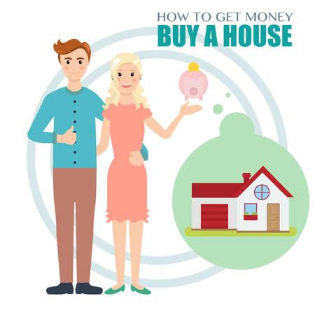 Giovane famiglia di risparmiare soldi per comprare una casa.