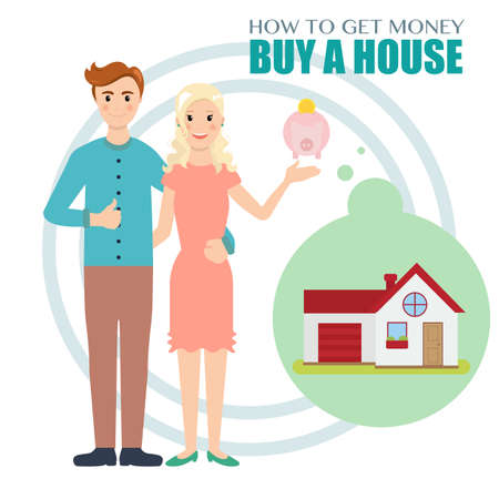 Young family saves money to buy a house.