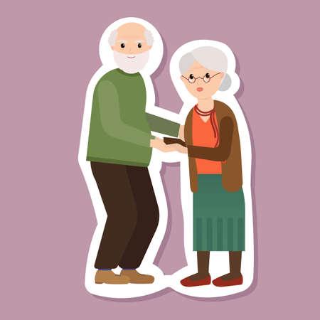 Portrait of happy grandparents day design