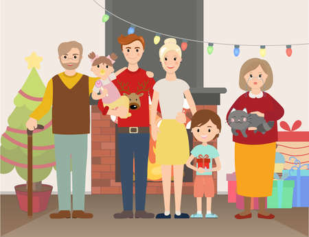 fire place: illustration of Christmas family portrait at home near fire place and Christmas tree and gifts Illustration