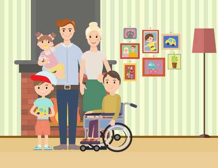 special needs: Portrait of happy family with special needs child. Big family illustration Illustration