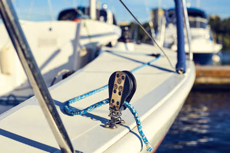 spinnaker: Equip yacht with, weather and lee braces for spinnaker Stock Photo