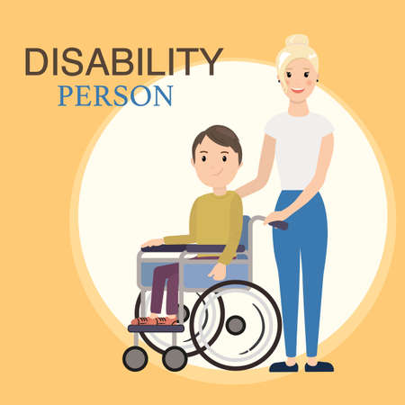 social worker: Disabled child in a wheelchair with social worker. Helping moving around and spending time together.