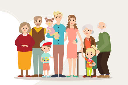 grandpa and grandma: Big happy family portrait parents with disabled child. Father, mother, kids, grandpa, grandma. Several generations. Illustration