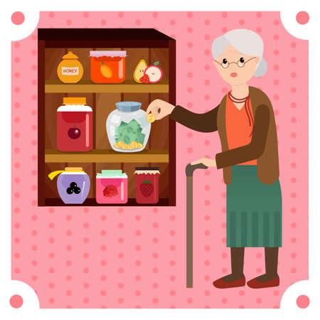 grandchildren: Grandmother saves money in bank for jam. Grandma enjoy her retired money for grandchildren.
