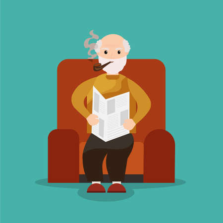 old people reading: Grandpa sits in a chair reading a newspaper and smoking a pipe. Old man reading newspaper. Grandfather smoking.