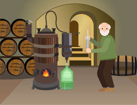 grandad: Grandpa makes alcohol whiskey drink in the basement. Copper distiller makes an alcoholic drink . Distillation machine.