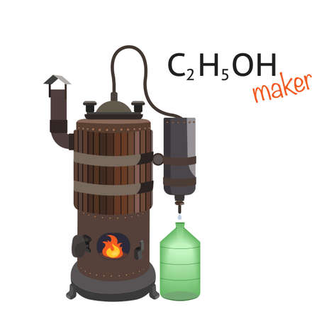 Copper distiller makes an alcoholic drink. Distillation machine. Vectores