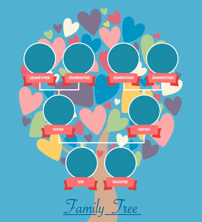 Family tree generation icons infographic avatars in flat style. Family design over tree with colorful heart leaves.