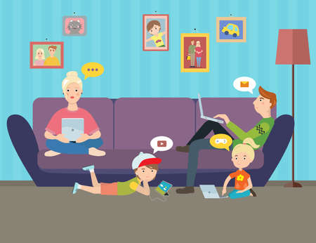 Illustration of Family using electronic gadgets. Parents and kids under hypnosis internet on computers at home. Иллюстрация
