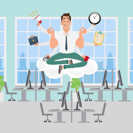 Businessman meditating in the office. Keep calm and work hard, make right decisions and be successful in your business concept. Vector illustration
