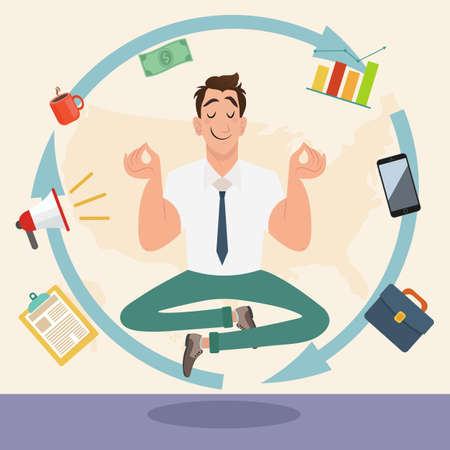 Handsome businessman with multitasking and multi skill. Male figure with multi hands pointing to work income finance planing strategy.