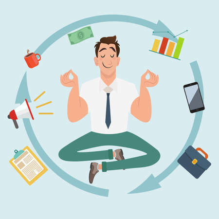 Manager character meditating and multitasking. Manager character or businessman smile and relax. Businessman meditating. Keep calm and work hard. Vector illustration 向量圖像