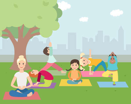 learning by doing: Illustration of Kids with instructor doing Yoga outdoors in green park. Kids Learning Yoga with trainer.