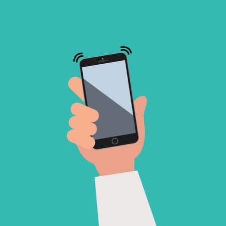 Hand holding black smartphone, phone vibrate. Flat design concept. Vector illustration Illustration