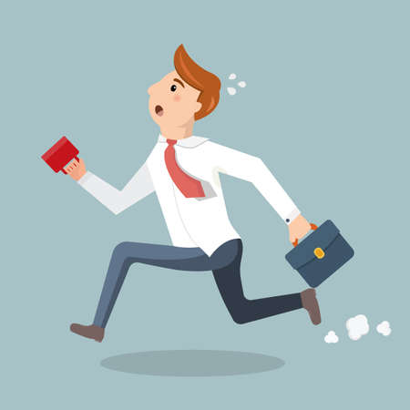up time: Employee with a cup of coffee and briefcase late for work. Man in suit run and late for work or a meeting. Vector illustration in a flat style.