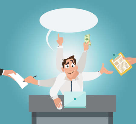 Office worker with six hands with and multi tasking. Workers productivity concept. Creative office background. Flat style design vector illustration. Illustration