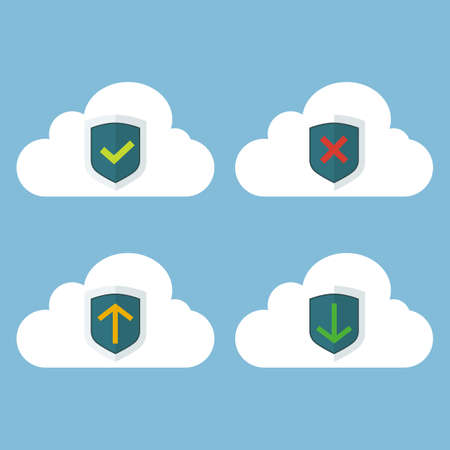 approved: Vector illustration set of white cloud with symbols. Cloud database icon set with approved, verified, corrupted, up- and download symbols. Vector flat illustration. Illustration