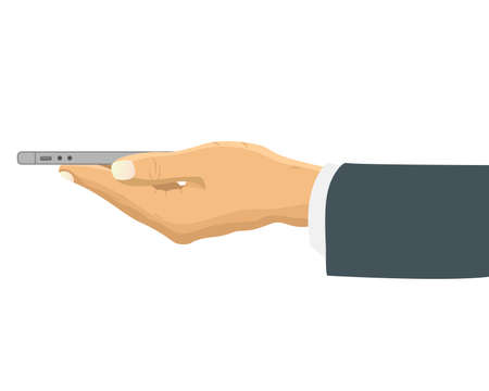 horizontally: Hand holding smart phone horizontally side view. Businessman hand holds the phone sideways. Vector illustration in flat design.