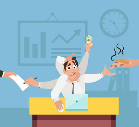 desk work: Office worker with six hands with and multi tasking. Workers productivity concept. Flat style design vector illustration.
