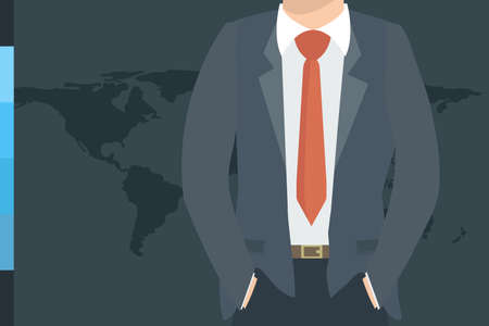 top of the world: Closeup view of Businessman in nice suit on world map background. Silhouette illustration of a businessman, top part of the body. Global Business. Business concept.