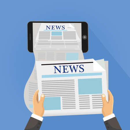 daily newspaper: Human hand holds smartphone and reading daily newspaper. Online reading news. Ilustration concept of online reading news using smartphone app.