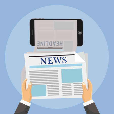 reading news: Hand holds phone and online reading news from newspapers. Vector illustration of online news browsing using smartphone. Mobile phone app for a newspaper or magazine