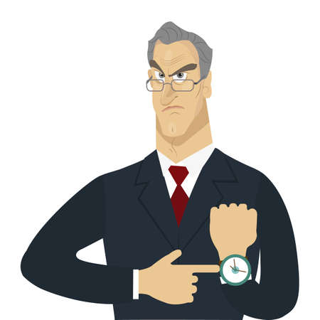 Angry boss isolated. Lateness concept. Creative office background. Flat style design vector illustration.