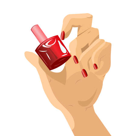 Woman hand holding a bottle with nail polish. Manicure nails and lacquer. Illustration