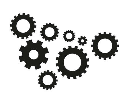 mechanism of progress: Gear icon isolated on white background. Vector illustration