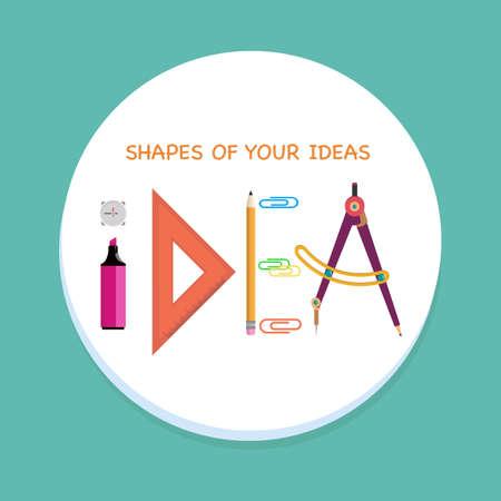 articulos de oficina: idea de la palabra de los artículos de oficina. Marcador, regla, lápiz y una brújula hacer una palabra. ilustración vectorial