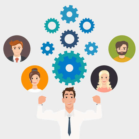human resource: Illustration of business people and gears teamwork, workforce staff infographic concept. Corporate company ladder of success leadership, human resource management