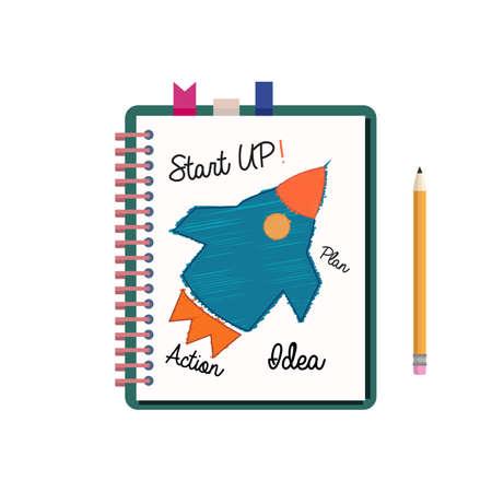 スタートアップのビジネス プランは、ノートブックで描画されます。メモ帳と鉛筆の図面。