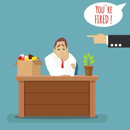 Rejeté homme d'affaires frustré avec boîte avec ses choses. Chef de foudre en chef de l'employé. Vecteurs