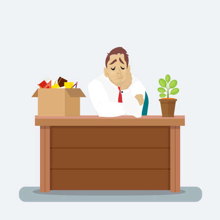 unemployed dismissed: Businessman at his desk with fired box things. Employee job reduction concept vector design