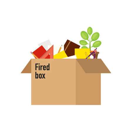 unemployed dismissed: Businessman fired box with office things. Dismissed vector illustration. Fired from job.