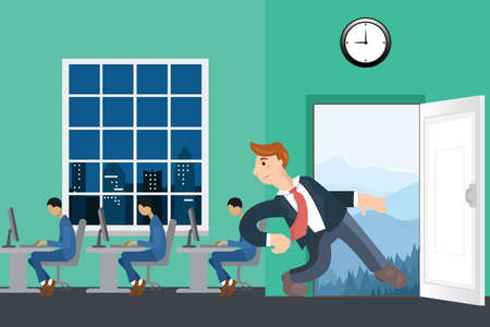 run out: Business man run out from the workplace and go to the wild on vacation vector illustration. The door leading into the mountains.