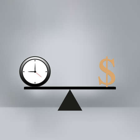weigher: Money and time balance on the scale. Business Concept Illustration