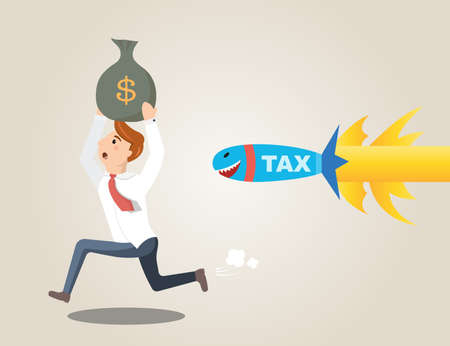 carries: Businessman running away from rocket tax. Businessman carries a bag of money