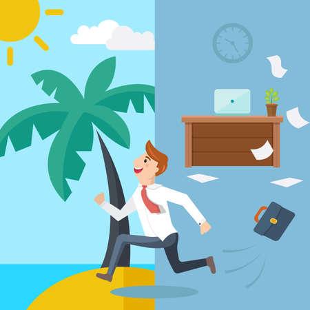 Business man running from office to summer beach. Vector illustration. Illustration