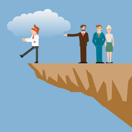 Employee point to the wrong path for businessman. Employee walking to the cliff.