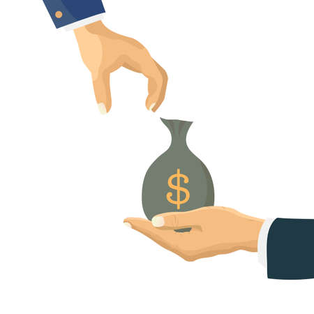 Human hand gives money, dollar bag to another person. Flat vector icon