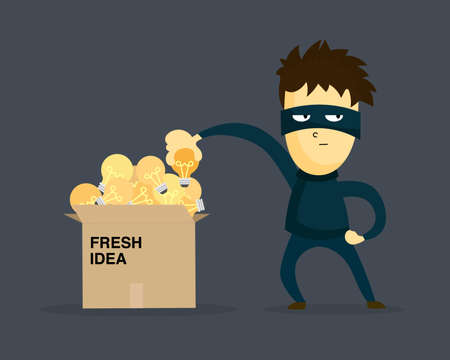 Thief stealing idea from businessman box. Cartooned thief in black mask and costume.