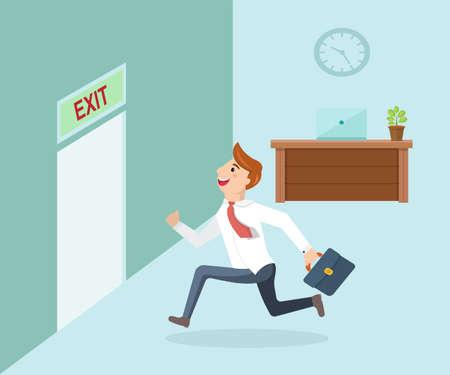 rushing: Running businessman and open door exit. Businessman running exit door sign he get off work.