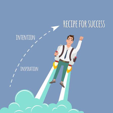nitro: Flying businessman with jetpack. Startup illustration concept Illustration