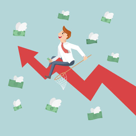Businessman riding success arrow graph trying to catch money fly. Employees are collecting money that was flying like a bird. Illustration