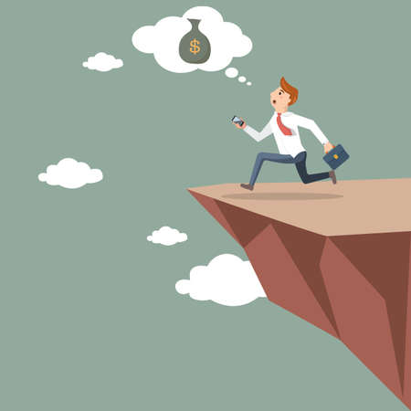 Businessman runs off a cliff in search of money. Business concept in vector illustration Illustration