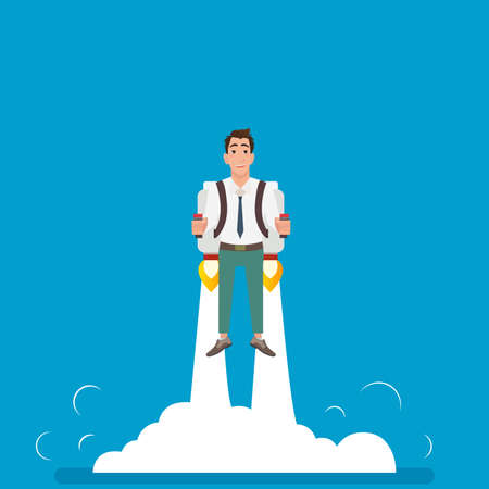 Happy businessman or manager flying on jetpacks to his goal. Flying above the clouds. Startup illustration. Illustration