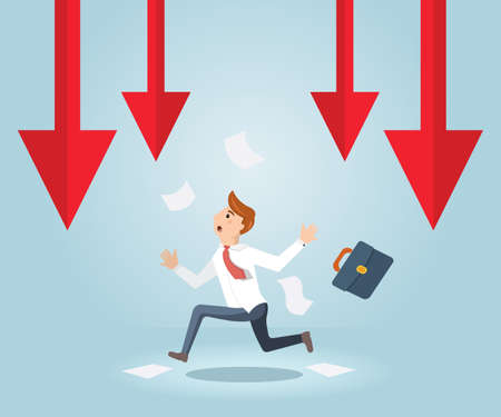 Businessman running out of business arrow falling. Businessman running from a failed plan. Illustration